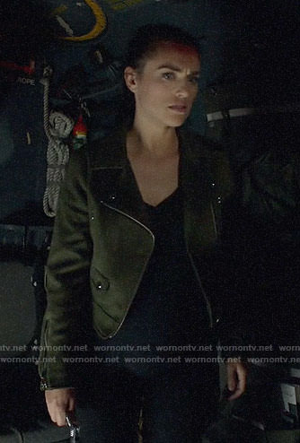 Lena's green suede moto jacket on Supergirl