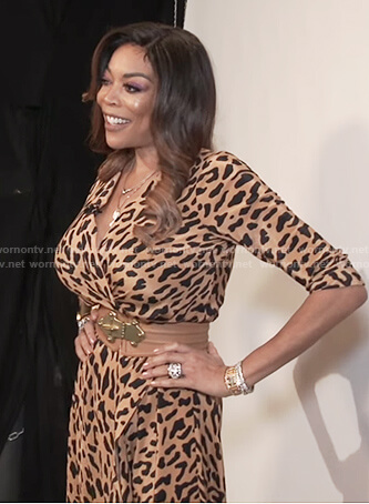 Wendy's leopard print wrap dress on The Wendy Williams Show