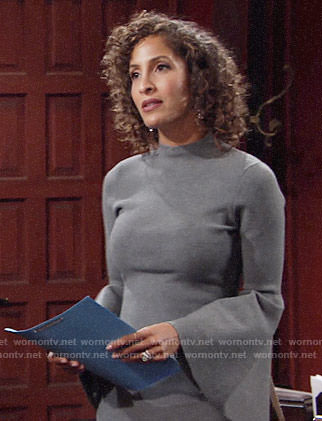 Lily's grey bell-sleeve dress on The Young and the Restless