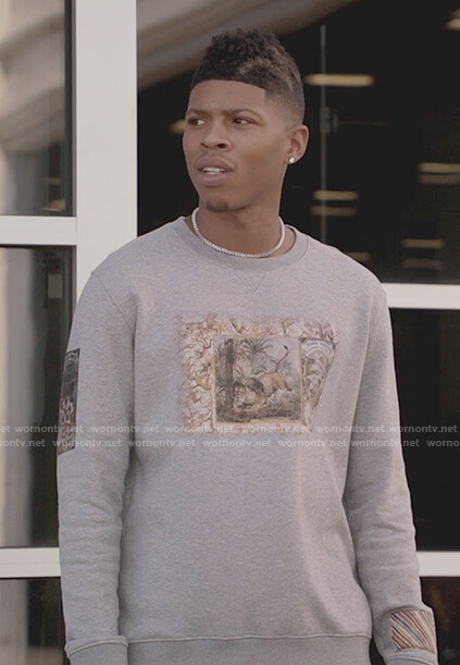 Hakeem's gray lion print sweater on Empire