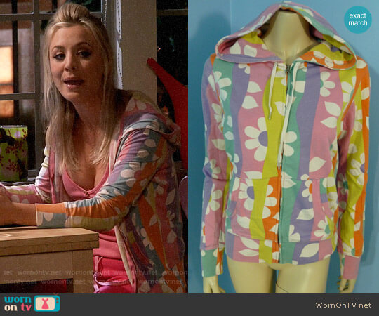Lucky Brand Flower Power Hoodie worn by Penny Hofstadter (Kaley Cuoco) on The Big Bang Theory
