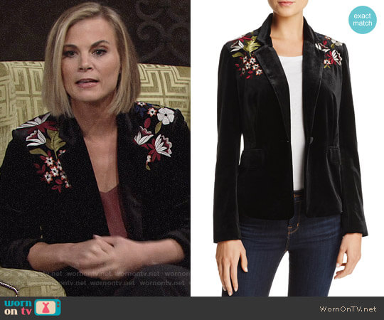 Lucy Paris Embroidered Velvet Blazer worn by Gina Tognoni on The Young & the Restless