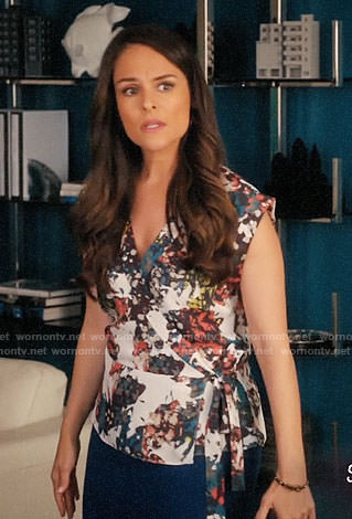 Luisa's printed wrap top on Jane the Virgin