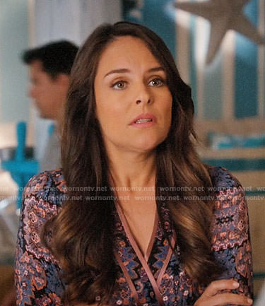 Luisa's purple printed wrap blouse on Jane the Virgin