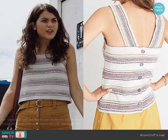 Madewell Apron Button-Back Tank Top in Stripe worn by Sofia Black D'Elia on The Mick