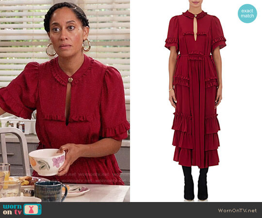Maison Mayle Ruffle-Embellished Silk Maxi Dress worn by Tracee Ellis Ross on Blackish