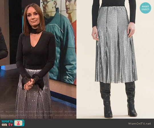 Midi Sequinned Skirt by Maje worn by Catt Sadler on E! News
