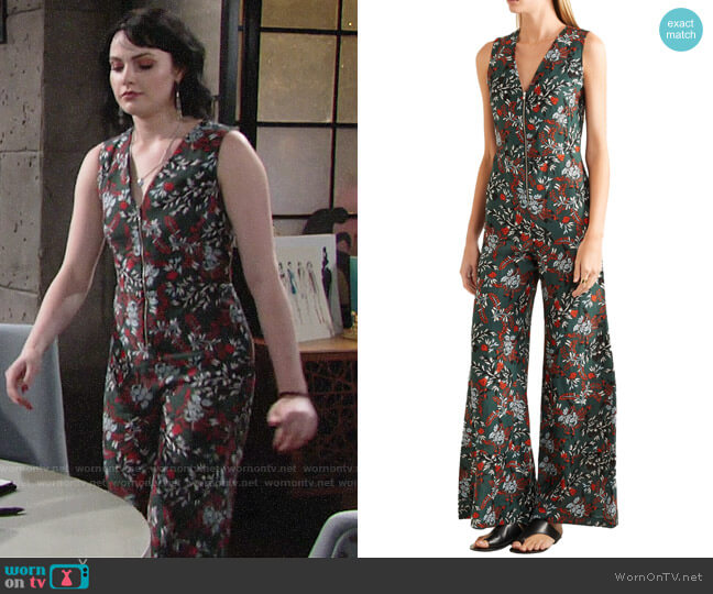 Maje Penny Jumpsuit worn by Tessa Porter (Cait Fairbanks) on The Young & the Restless