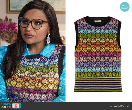 Marc Jacobs Sequin-embellished mohair-blend vest worn by Mindy Lahiri (Mindy Kaling) on The Mindy Project
