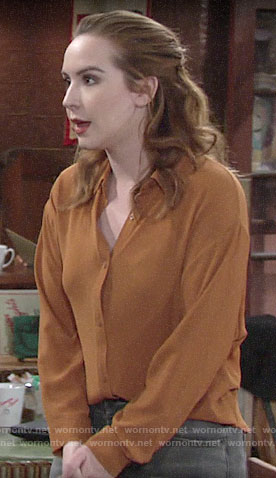Mariah's orange button front top on The Young and the Restless