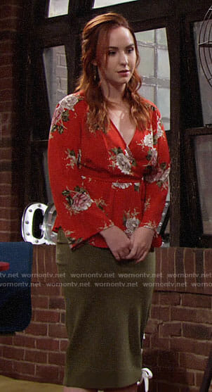 Mariah's red floral wrap top on The Young and the Restless
