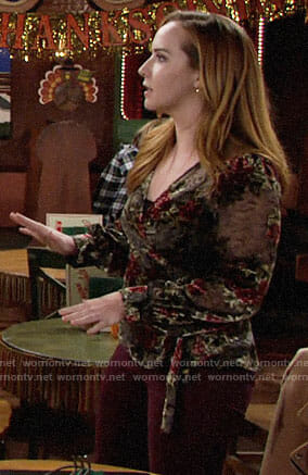 Mariah's floral velvet wrap top on The Young and the Restless