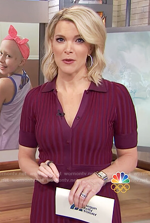Megyn's maroon ribbed dress on Megyn Kelly Today