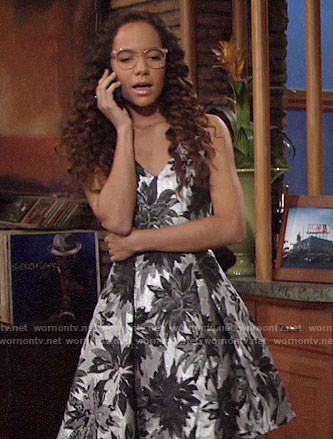 Mattie's floral silver dress on The Young and the Restless