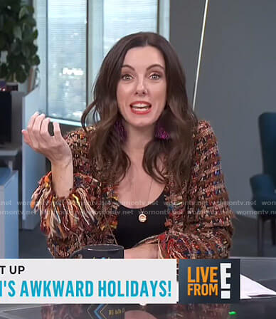 Melanie's brown frayed tweed jacket on Live from E!