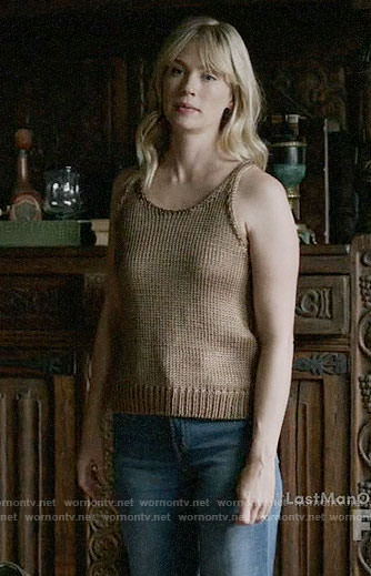 Melissa's brown knit tank top on Last Man on Earth