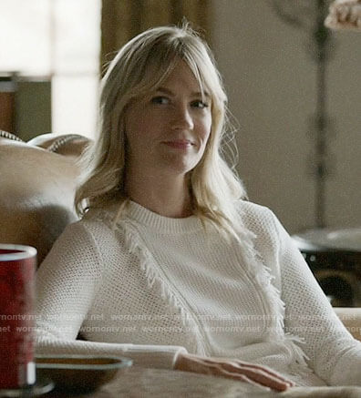 Melissa's white fringed sweater on Last Man on Earth