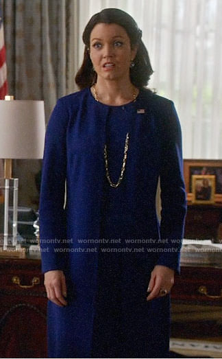 Mellie's long blue jacket on Scandal