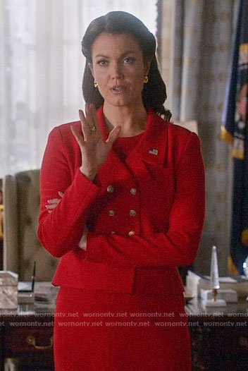 Mellie's red double breasted jacket on Scandal