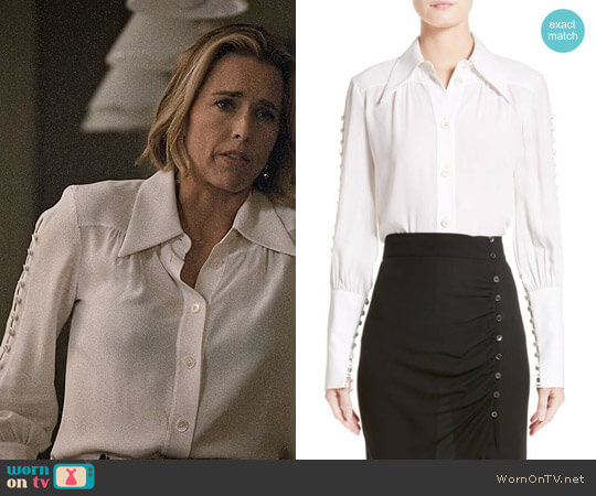 Michael Kors Button Sleeve Silk Blouse worn by Elizabeth McCord (Téa Leoni) on Madam Secretary