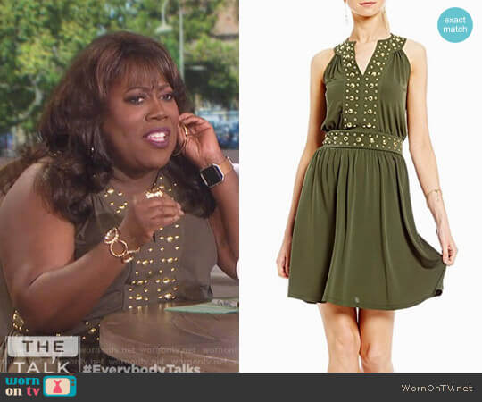 Split Neck Dome Studded Accented Band Shift Dress by MICHAEL Michael Kors worn by Sheryl Underwood  on The Talk