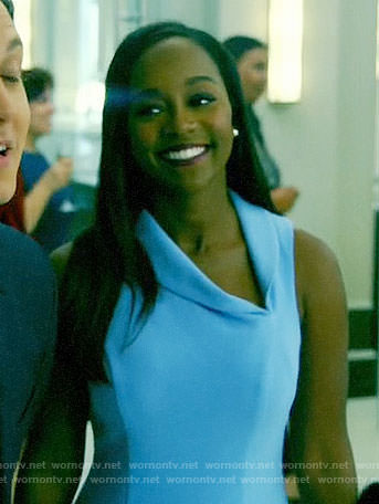 Michaela's blue asymmetric collar dress on How to Get Away with Murder