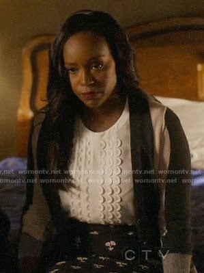 Michaela's white top and black floral skirt on How to Get Away with Murder