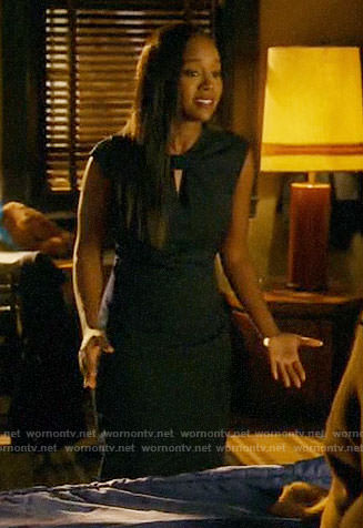 Michaela's navy bow neck dress on How to Get Away with Murder
