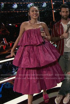 Miley Cyrus's pink strapless puffy dress on The Voice