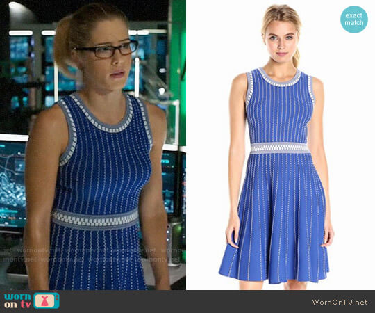 Milly Ribbed Fit & Flare Dress worn by Felicity Smoak (Emily Bett Rickards) on Arrow
