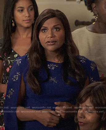 Mindy's purple embellished cape dress on The Mindy Project