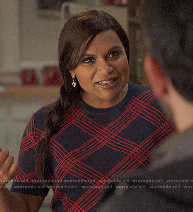 Mindy's navy and red checked top on The Mindy Project