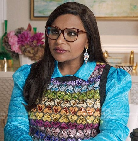 Mindy's blue heart print shirt and rainbow heart vest on The Mindy Project