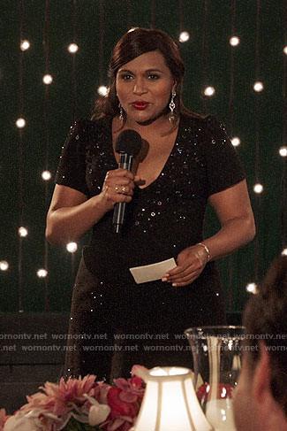 Mindy's black embellished v-neck dress on The Mindy Projct