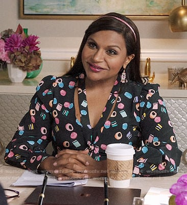 Mindy's licorice print dress on The Mindy Project