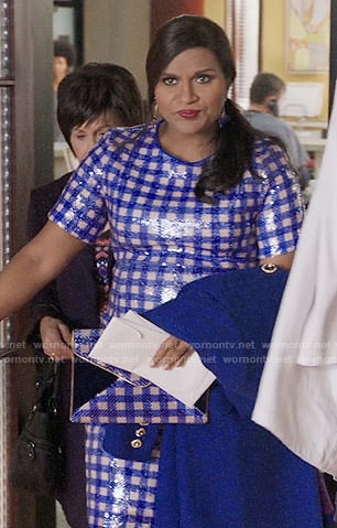 Mindy's blue sequin checked dress on The Mindy Project