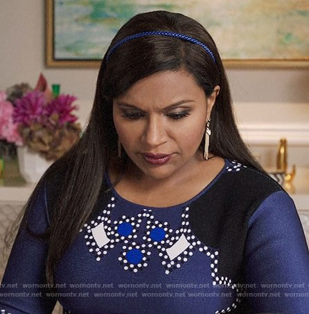 Mindy's navy dotted print dress on The Mindy Project
