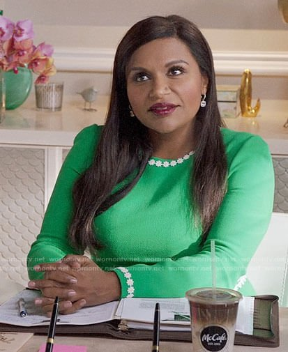 Mindy's green daisy trim dress on The Mindy Project