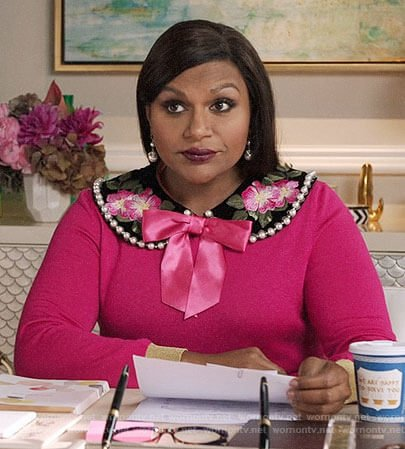 Mindy's pink sweater with floral pearl trim collar on The Mindy Project