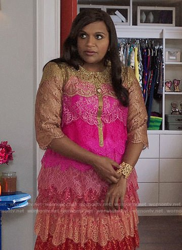Mindy's pink ombre lace dress on The Mindy Project