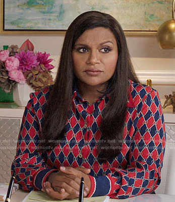 Mindy's red and navy diamond print shirt on The Mindy Project