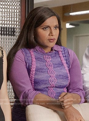 Mindy's purple cable knit top on The Mindy Project