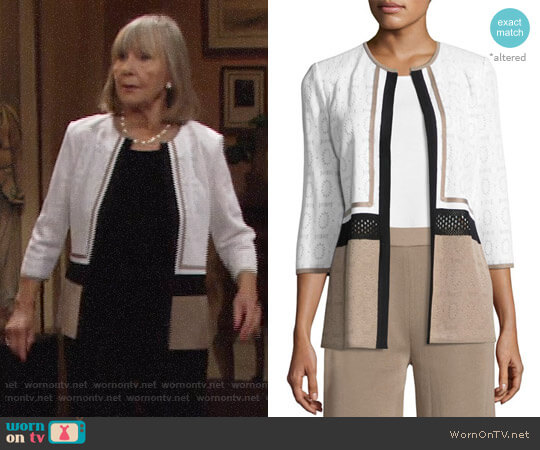 Misook Colorblock 3/4 Sleeve Jacket worn by Dina Mergeron (Marla Adams) on The Young & the Restless