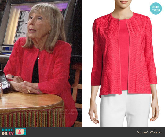 Misook Textured 3/4 Sleeve Jacket worn by Dina Mergeron (Marla Adams) on The Young & the Restless