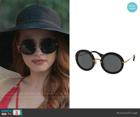 Miu Miu Round Acetate Sunglasses worn by Cheryl Blossom (Madelaine Petsch) on Riverdale