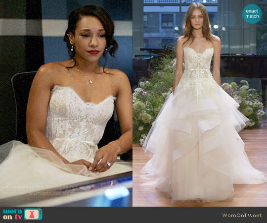 Monique Lhuillier Tresor Gown worn by Iris West on Supergirl/The Flash/Arrow