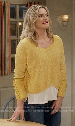 Natasha's yellow v-neck tie-sleeve sweater on Mom