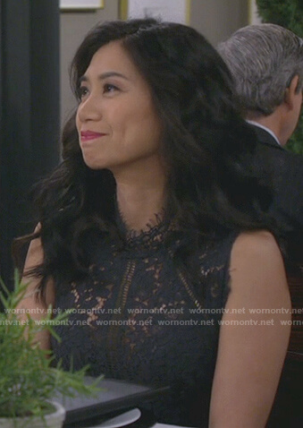 Eve's navy floral lace dress on 9JKL