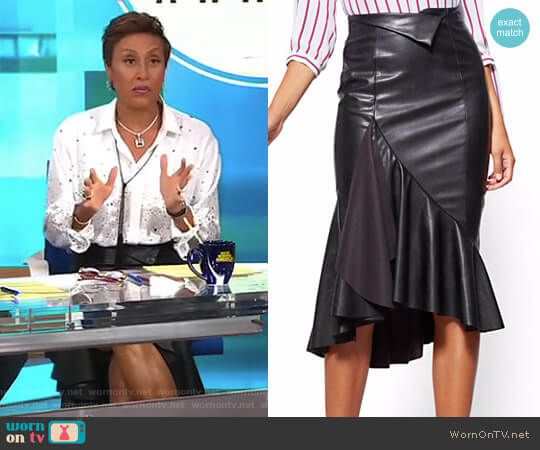Faux-Leather Flounced Skirt by New York & Company worn by Robin Roberts  on Good Morning America