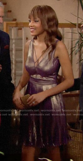 Nicole's metallic purple Thanksgiving dress on The Bold and the Beautiful